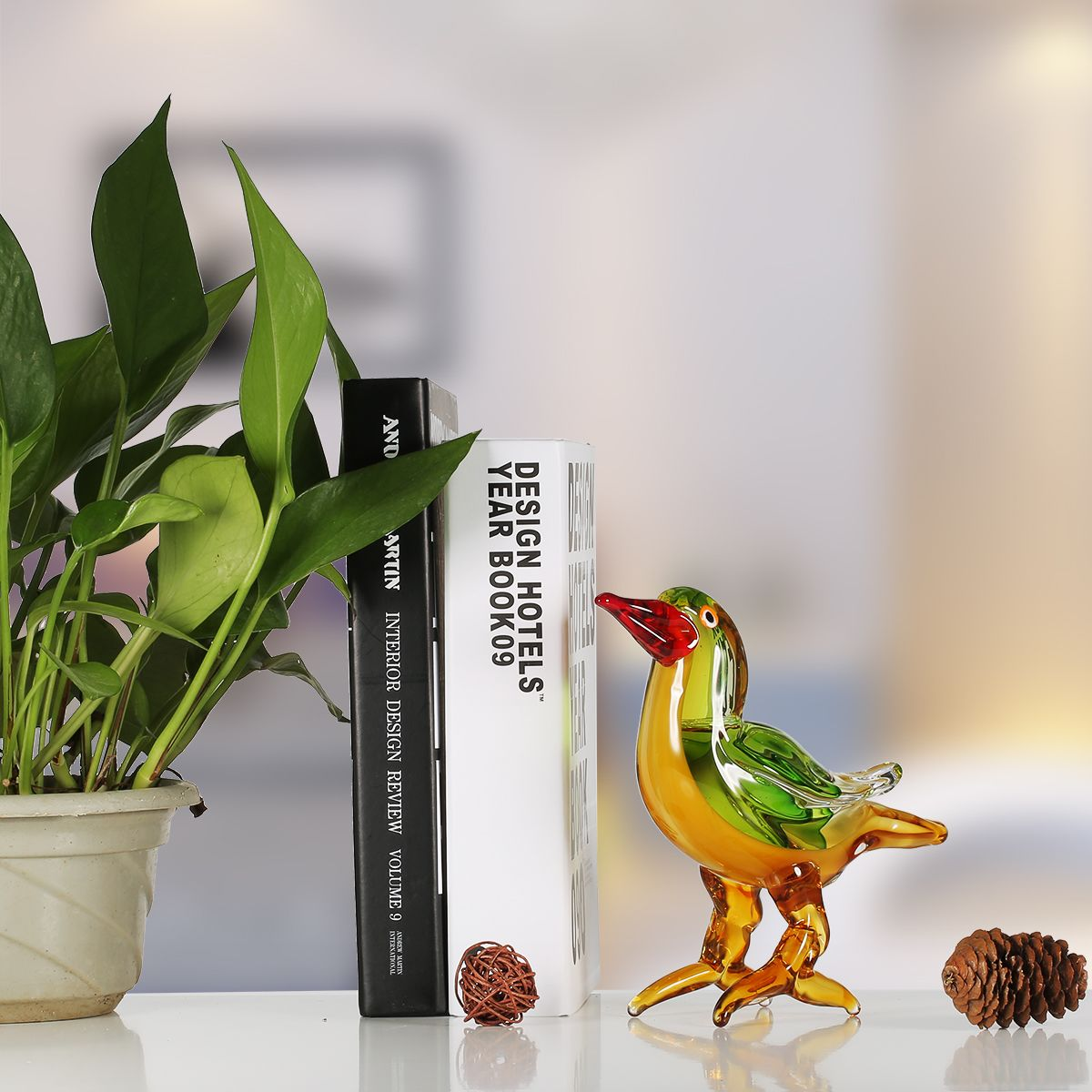 Tooarts Red Beak Bird Glass Sculpture Home Decor Animal Ornament Gift Craft  Decoration