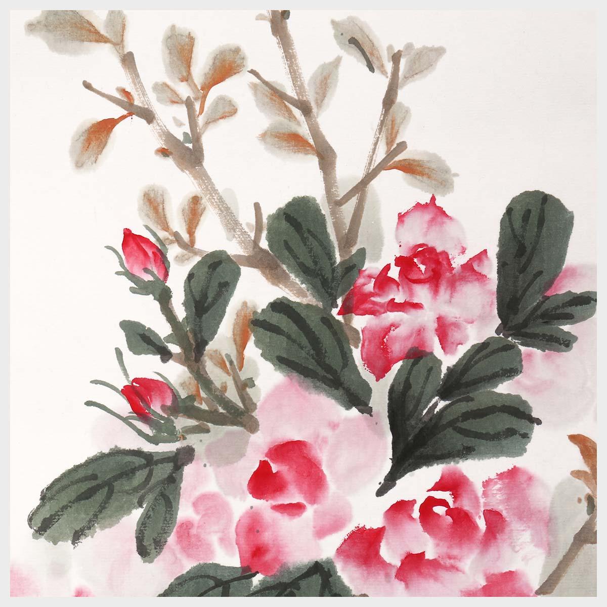 Art de mur rose et oiseau chinois 100 dessin original fait à la main pour les décorations de salle de bureau à la maison