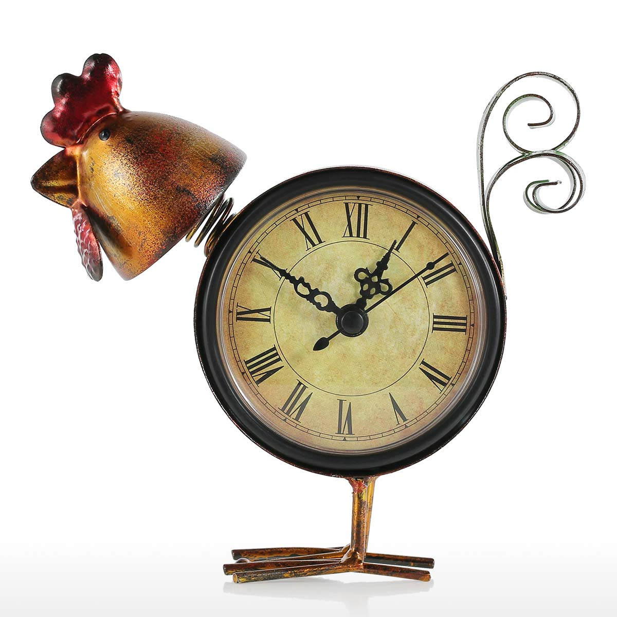 Chick Clock Handmade Vintage Metal Chick Figurine Mute Table Clock  Practical Clock One AA Battery