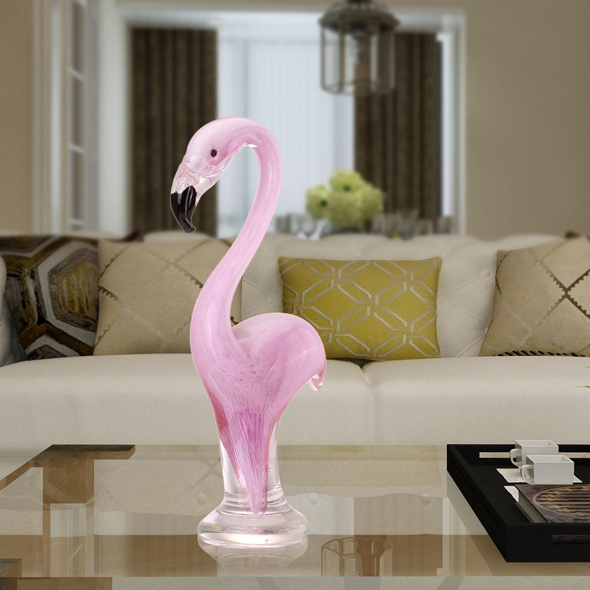 Delightful Flamingo Bird Glass Sculpture Home Decoration Glass Animal