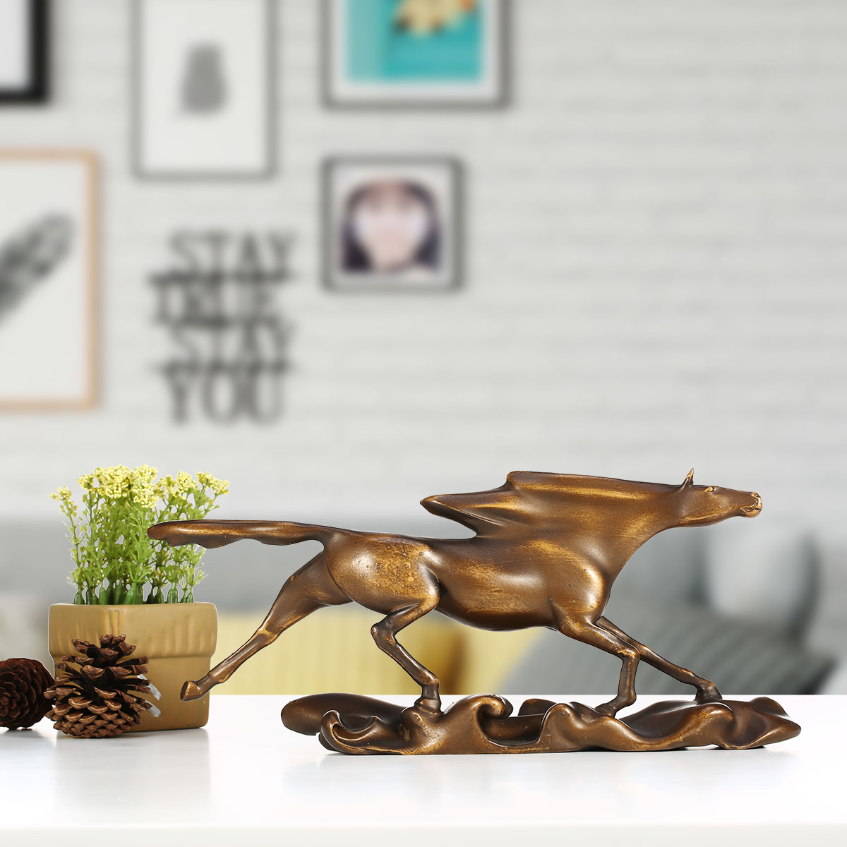 Surf Chasing Wild Galloping Horse Figure Statue Gifts And Decor Home Decor  Bronze Colored