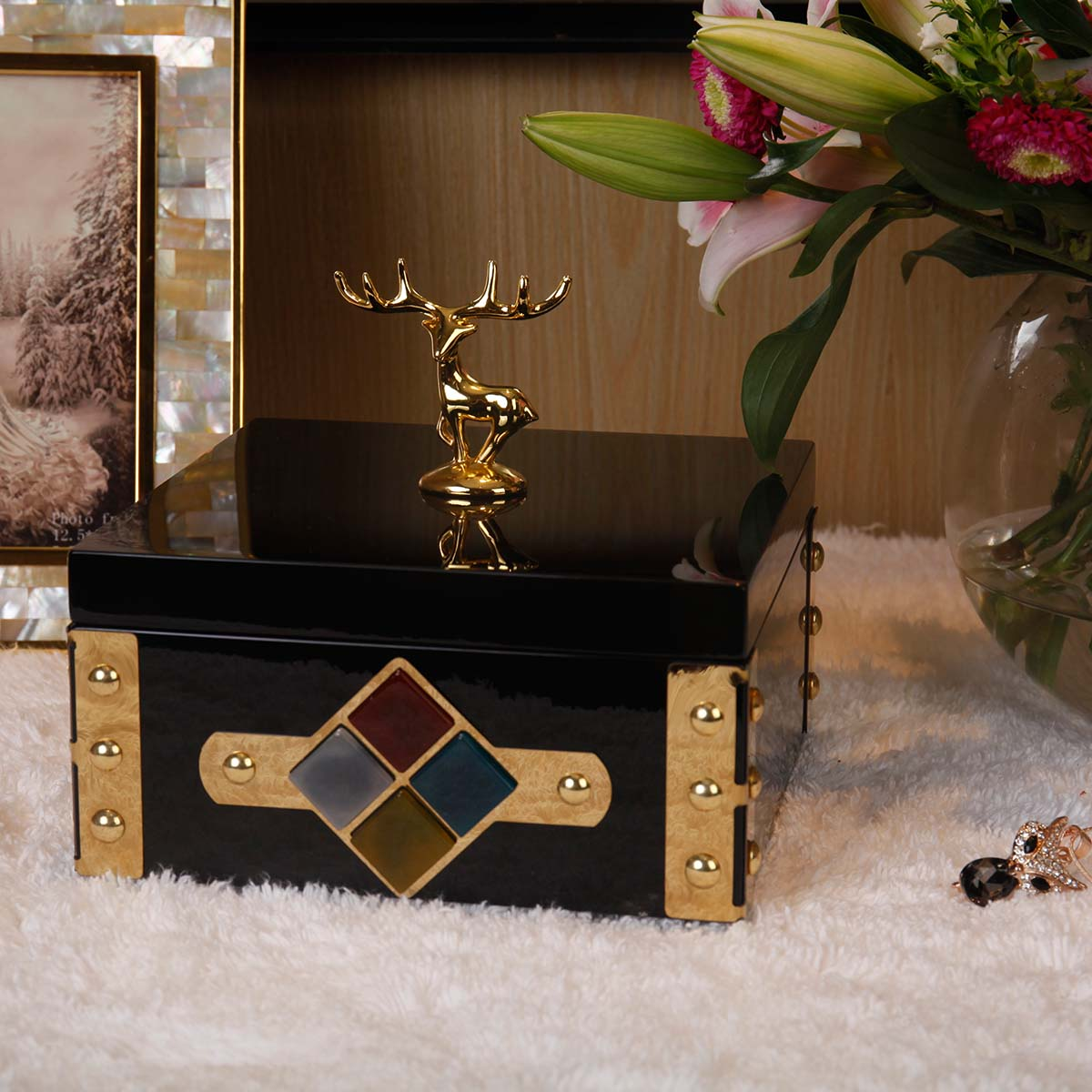 Best and cheap color1 Rectangular Jewelry Box Gold Deer Storage