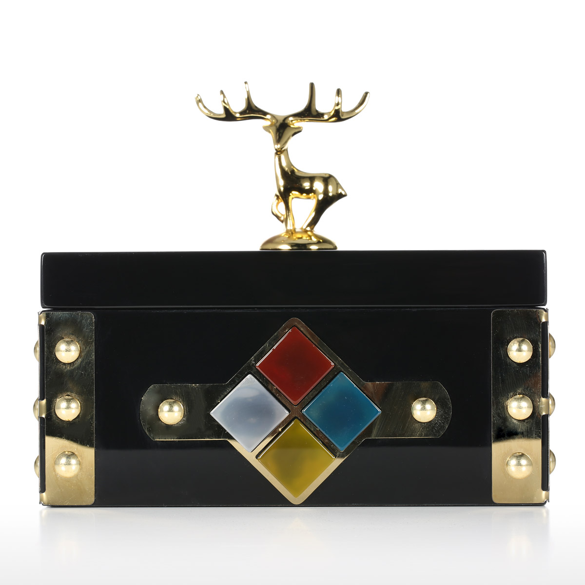 Rectangular Jewelry Box (Gold   Deer) Storage Case Wooden Ring Necklace Storage  Box Birthday
