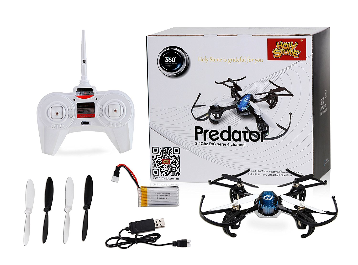 Holy Stone HS170 Predator Mini RC Helicopter Drone 24Ghz 6 Axis Gyro 4 Channels Quadcopter Good Choice For Training