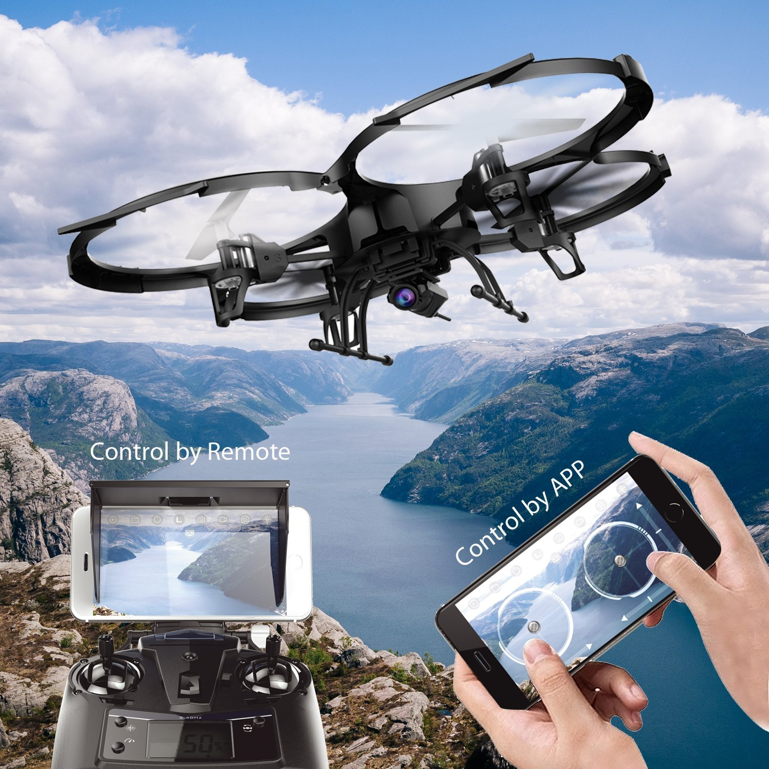 Get 10$ off for WIFI FPV Version U818A Drone with 720P HD Camera DBPOWER Headless Mode Quadcopter Only 115.99$ with code  WU818A+
