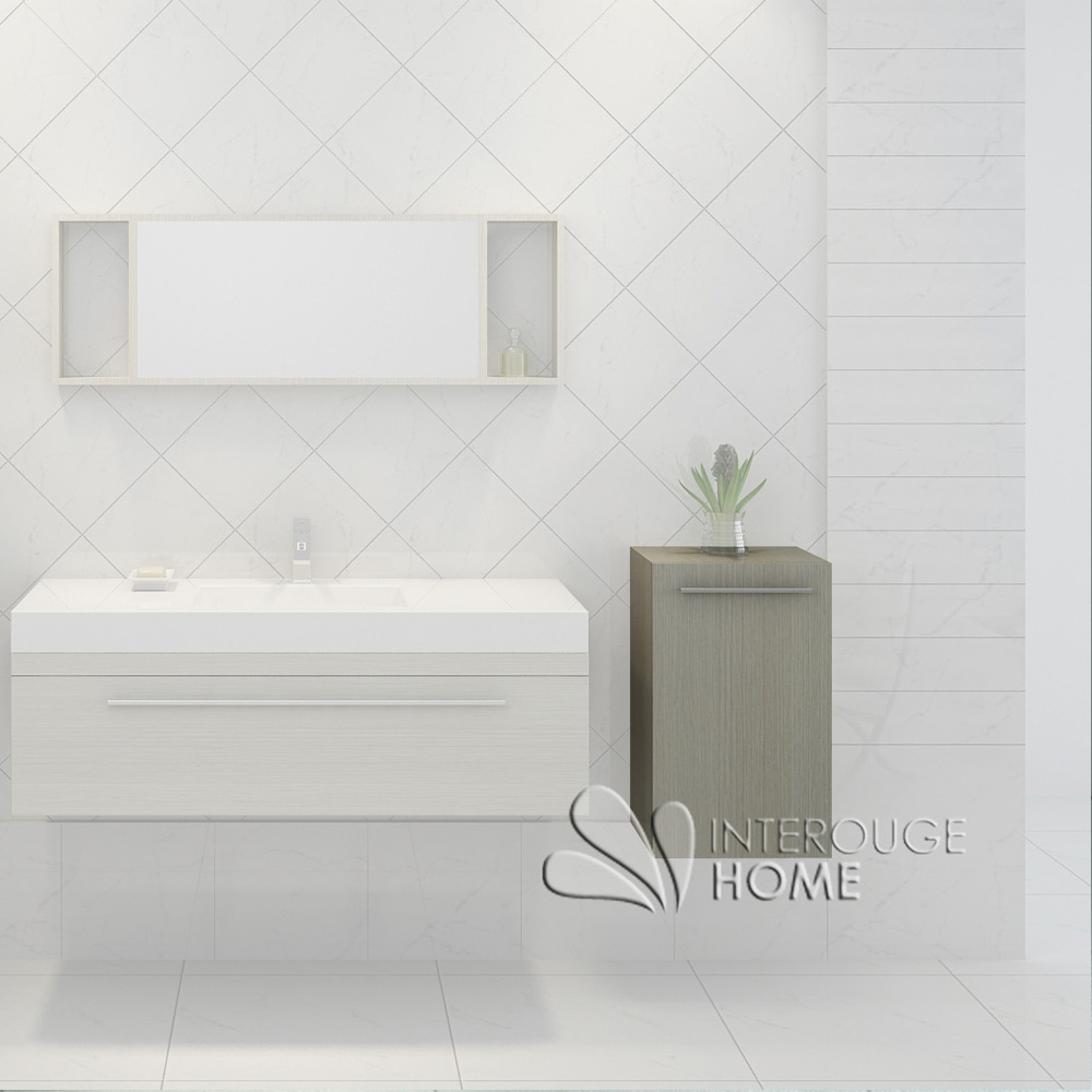 colonne de rangement salle de bain en bois coloris Pin hauteur 66cm
