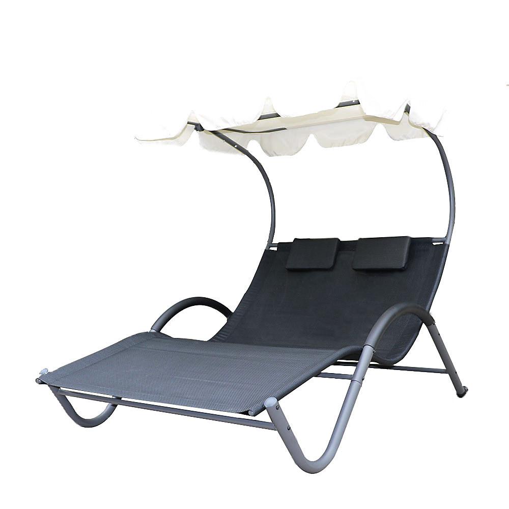 transat bain de soleil biplace gris anthracite avec ombrelle - Transat Soleil