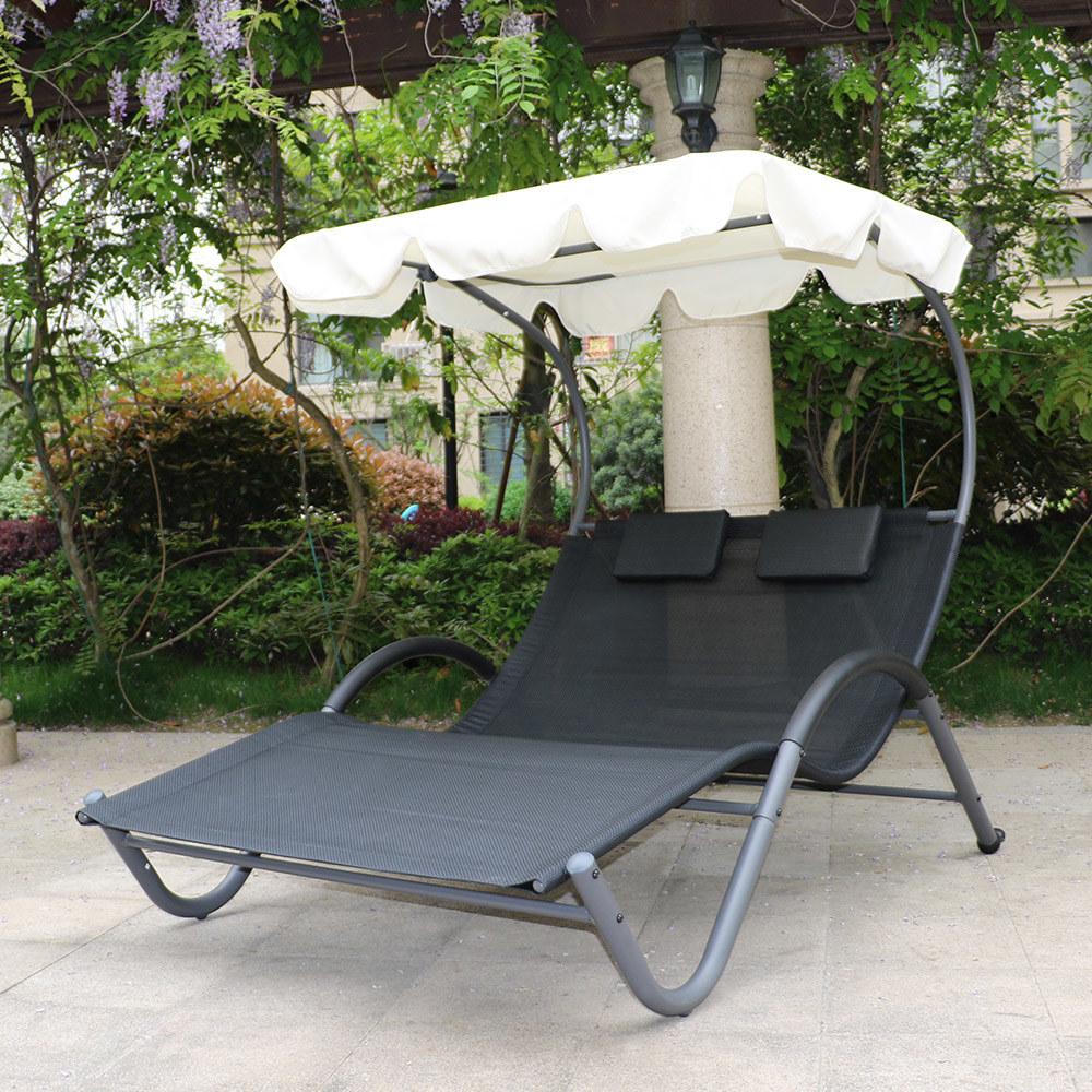 transat bain de soleil biplace gris anthracite avec. Black Bedroom Furniture Sets. Home Design Ideas