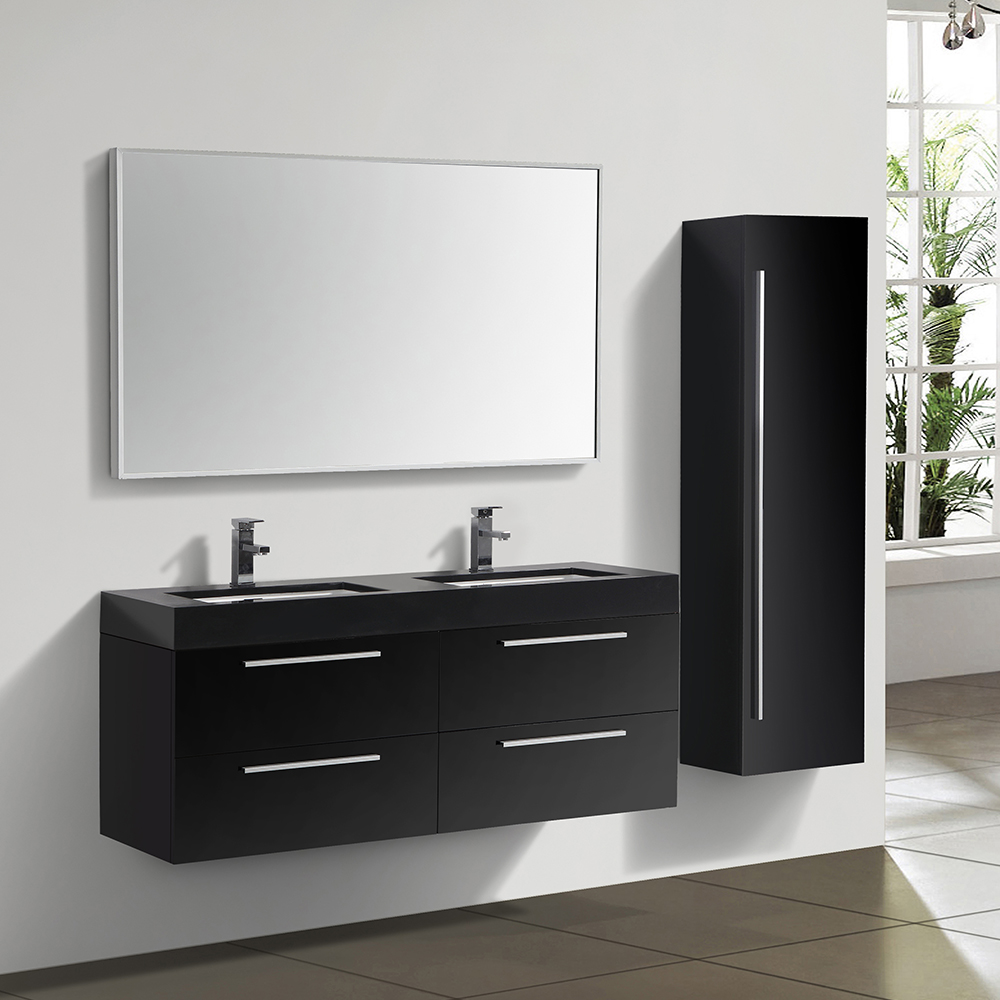 ensemble de salle de bain double vasque noir. Black Bedroom Furniture Sets. Home Design Ideas