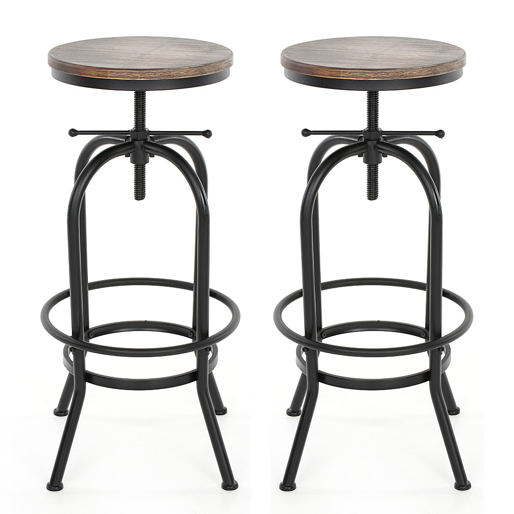 lot de 2 tabourets de bar style industriel assise en bois ikayaa. Black Bedroom Furniture Sets. Home Design Ideas