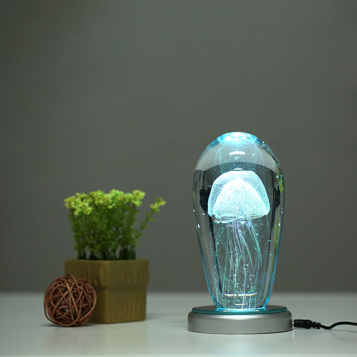 Nice Tooarts Pink Jellyfish And Lighting Base Glass Sculpture Home Decoration  Glass Jellyfish