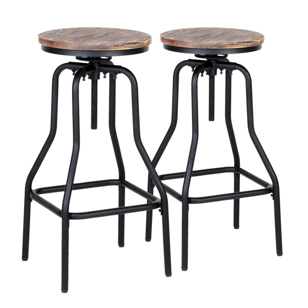 tabouret haut style industriel assise en bois hauteur r glable lot de 2. Black Bedroom Furniture Sets. Home Design Ideas