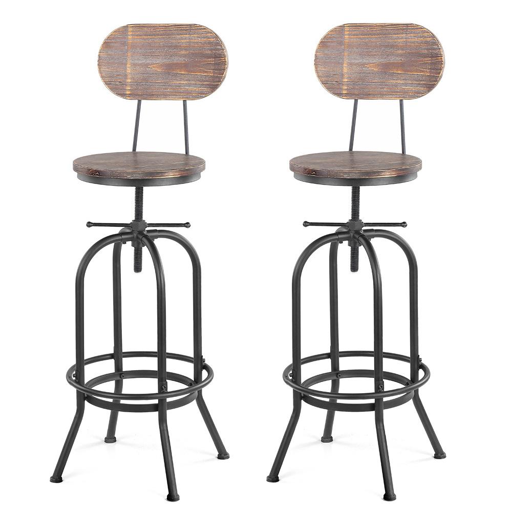 chaise de bar style industriel assise en bois hauteur r glable lot de 2. Black Bedroom Furniture Sets. Home Design Ideas