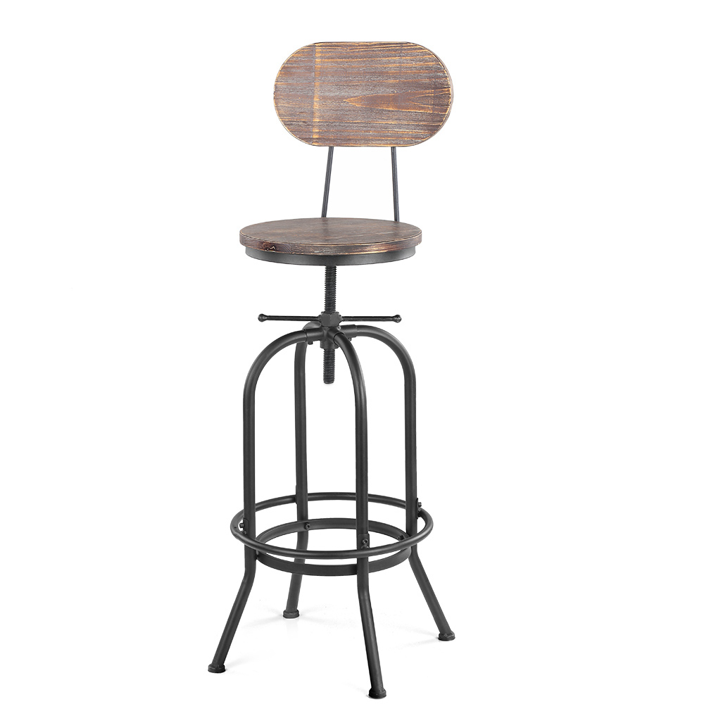 Chaise de bar style industriel assise en bois hauteur - Chaise de bar style industriel ...
