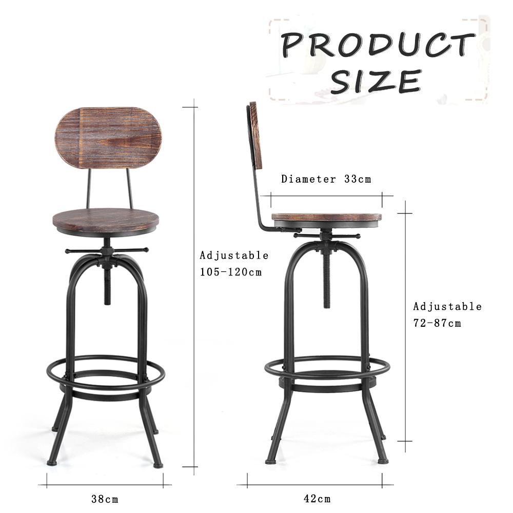 Style Ikayaa Chaises Lot De Bar 2 Industriel DIE9WH2