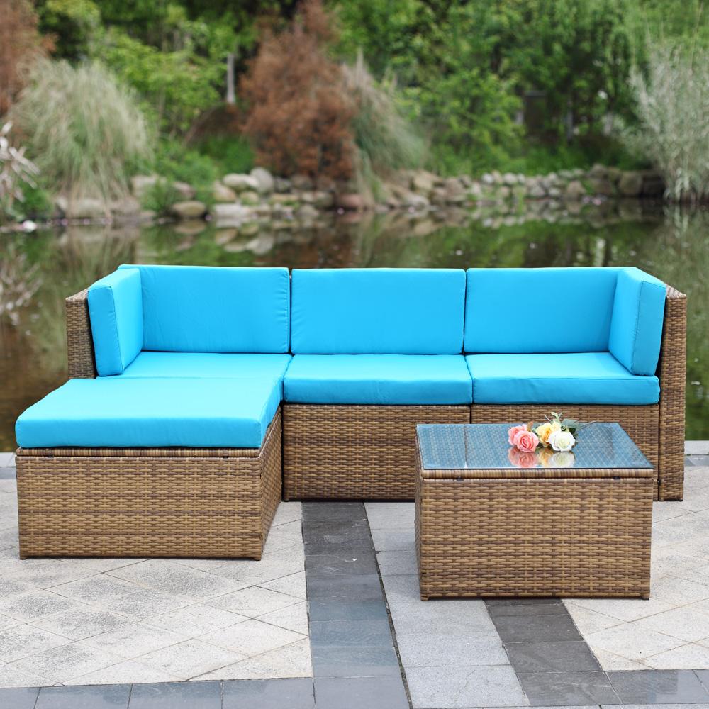 Salon De Jardin Original ikayaa 5pcs cushioned outdoor furniture sofa set - lovdock