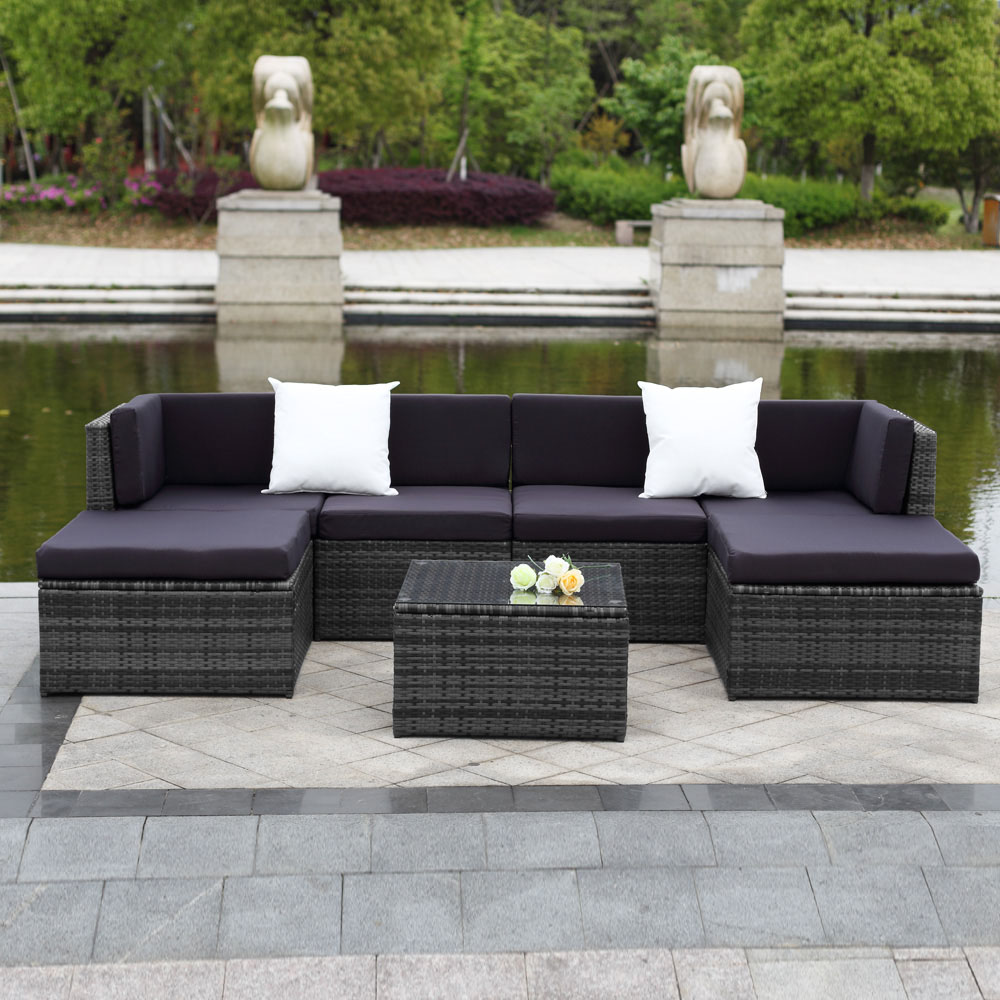 nur ikayaa 7pcs rattan wicker outdoor patio gartenm bel sofa set grau. Black Bedroom Furniture Sets. Home Design Ideas