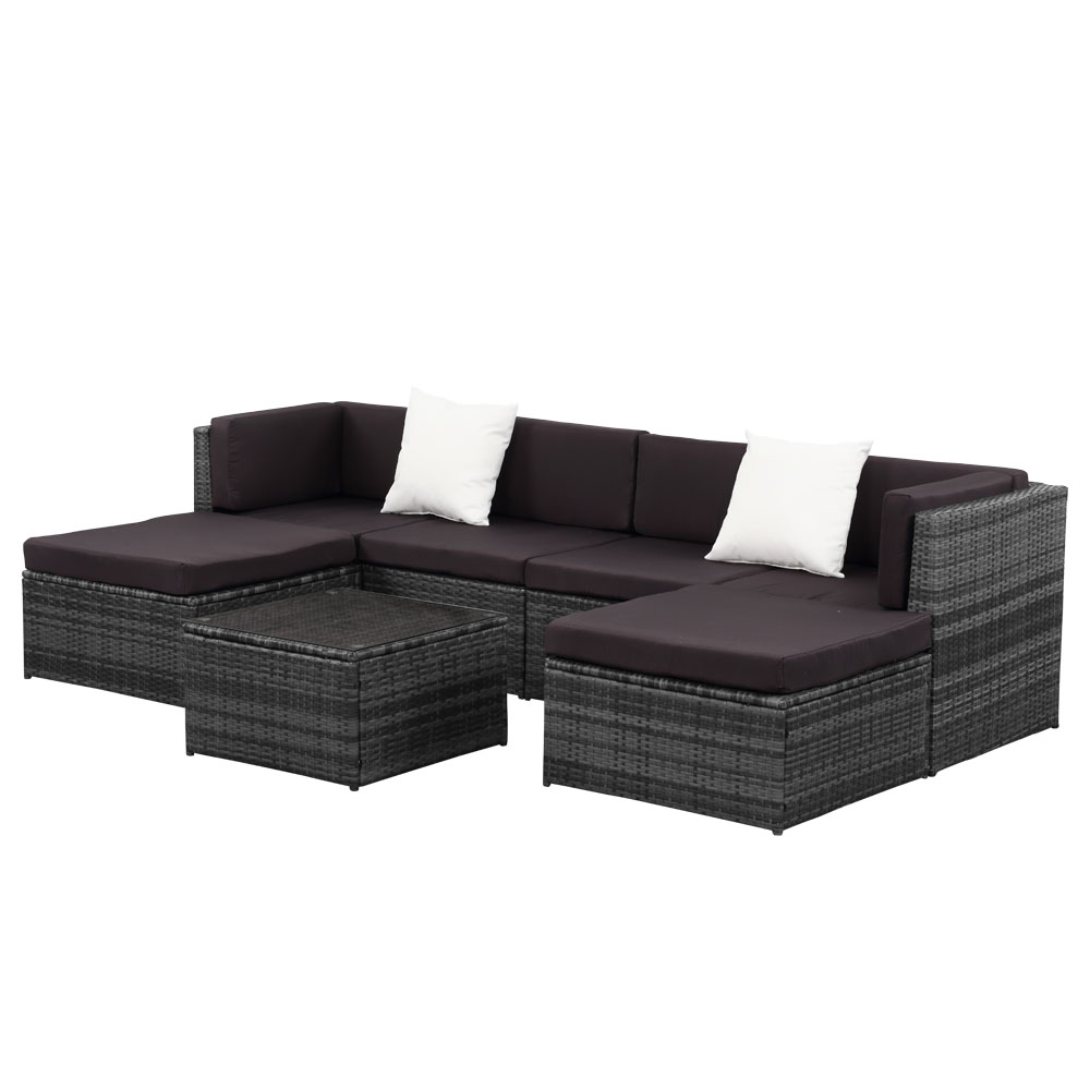 Sectional Gray Sofa Set: Gray IKayaa 7PCS Outdoor Patio Rattan Wicker Sectional