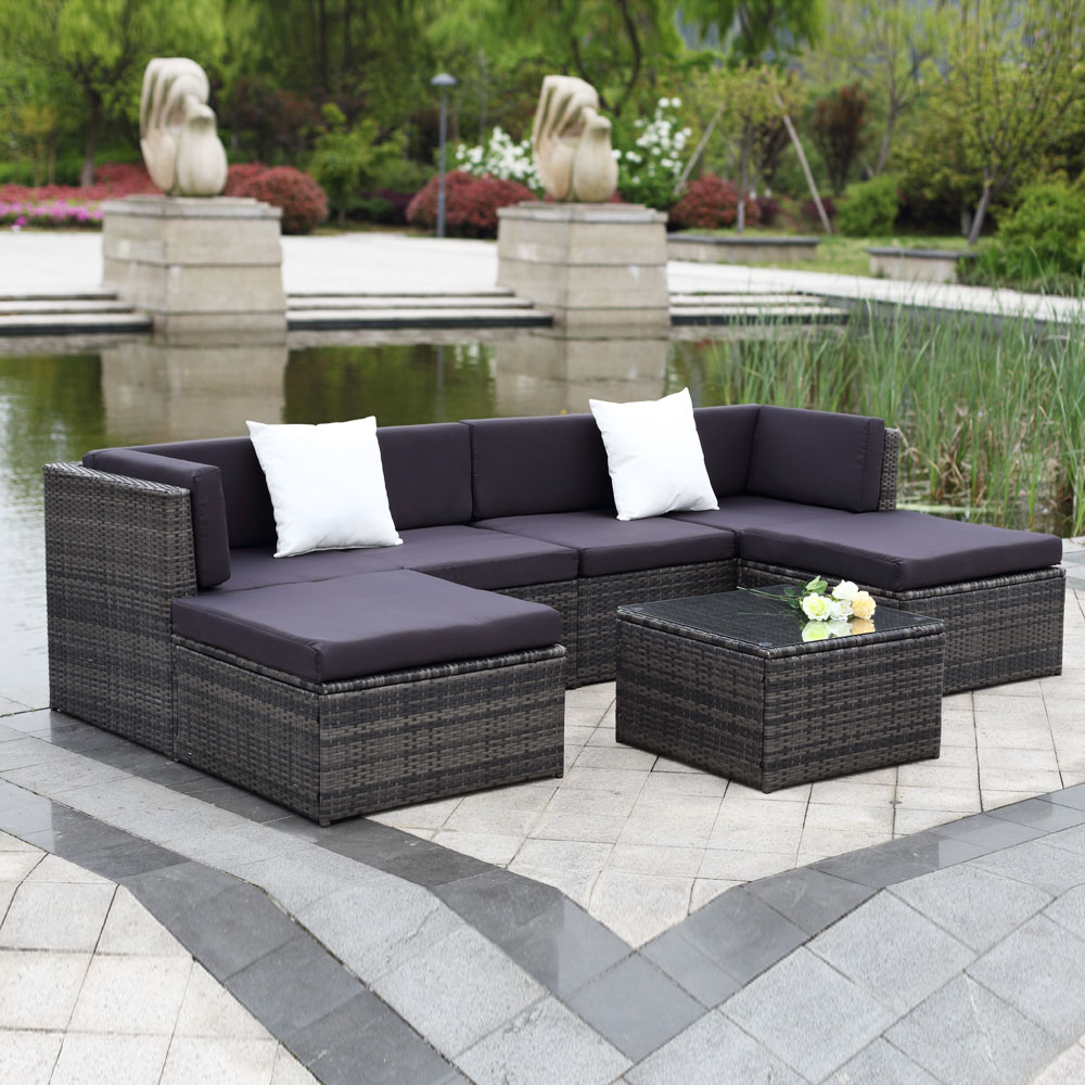IKayaa 7PCS Outdoor Patio Rattan Wicker Sectional Sofa Set Gray