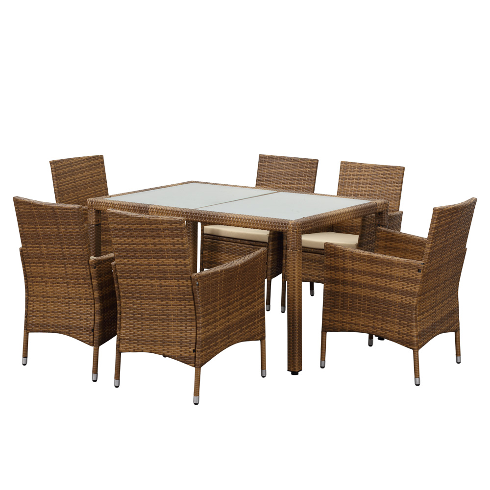 Ikayaa 7pcs Rattan Wicker Outdoor Patio Dinning Table Set Light Brown