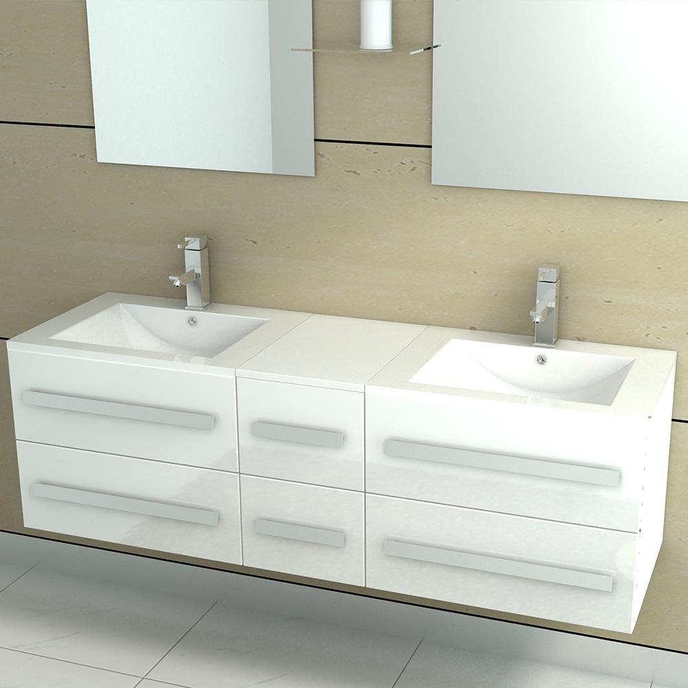 Meuble de salle de bain double vasque 5 coloris for Ensemble meuble de salle de bain double vasque