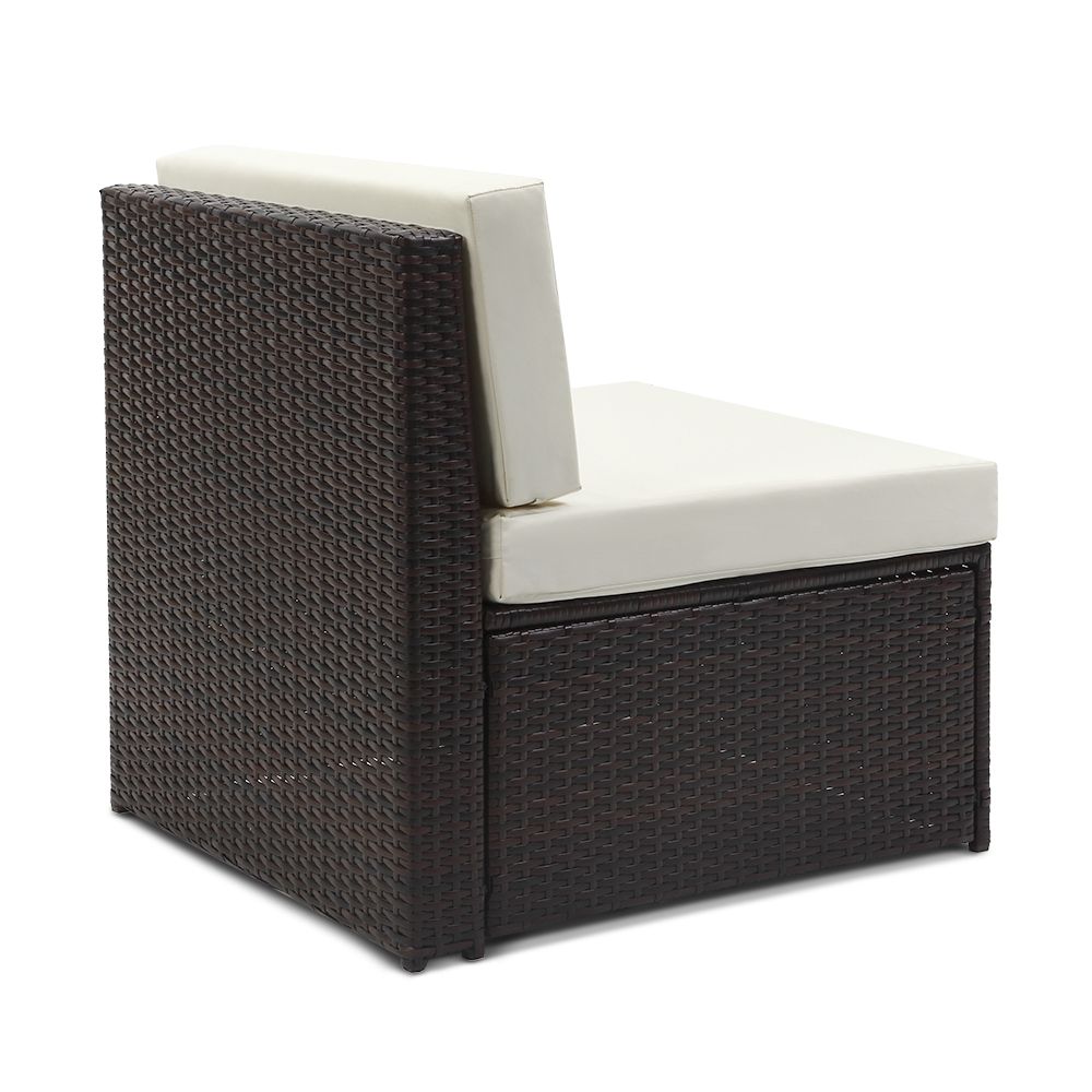 salon de jardin ikayaa 6 personnes brun fonc et beige. Black Bedroom Furniture Sets. Home Design Ideas