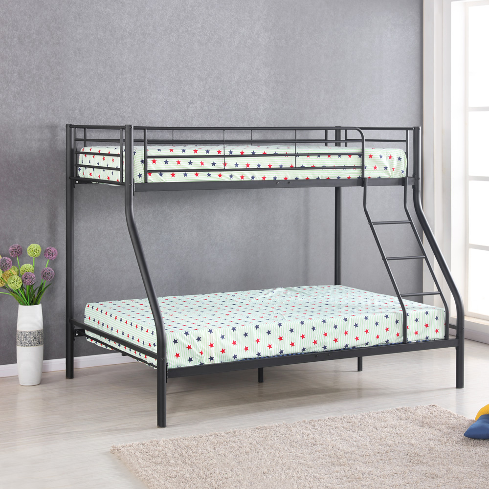 black iKayaa Modern Single-Over-Double Metal Bunk Bed Frame With ...