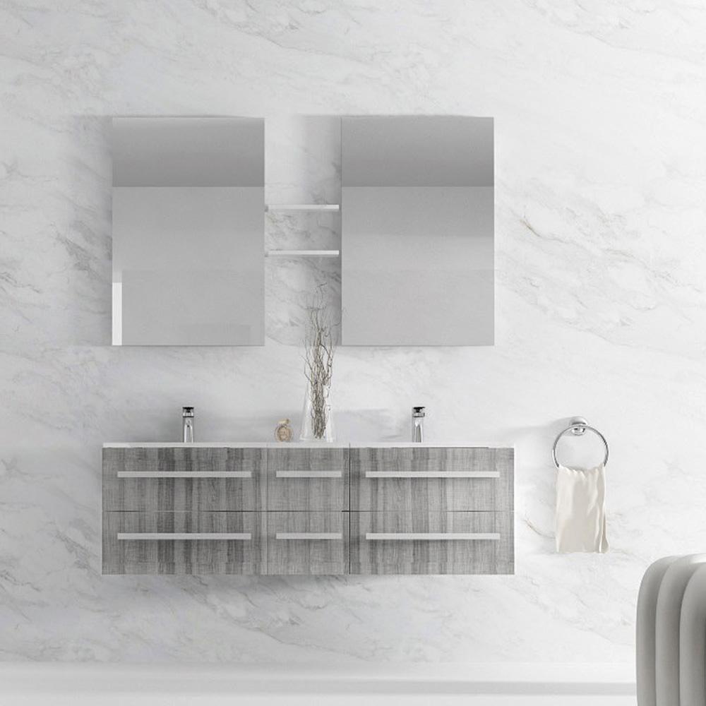 Meuble de salle de bain double vasque 5 coloris for Ensemble quarto meuble de salle de bain suspendu double vasque mioir