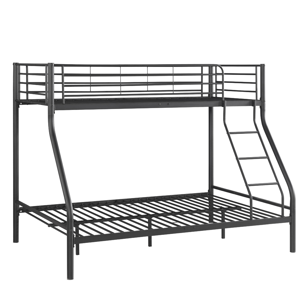 black iKayaa Single-Over-Double Metal Bunk Bed Frame With Ladder ...