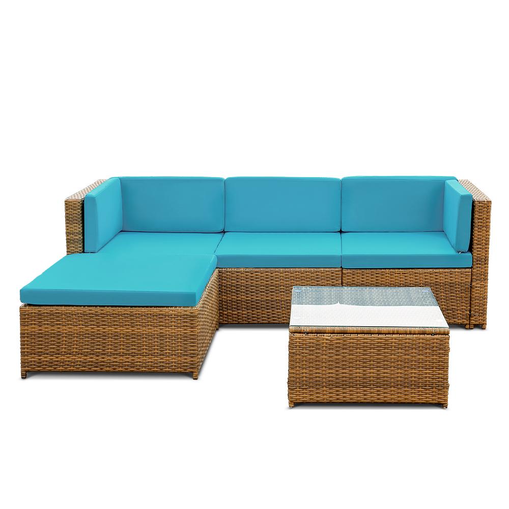 salon de jardin ikayaa 4 personnes 3 coloris au choix bleu azur seulement sur. Black Bedroom Furniture Sets. Home Design Ideas