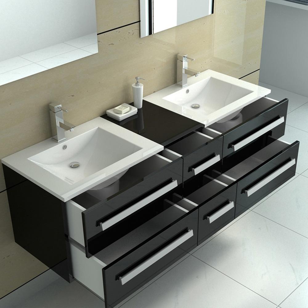 Vasque Salle De Bain A Suspendre ensemble salle de bain suspendu double vasque 152cm 6 tiroirs design  moderne + 2 miroirs noir à seulement 399.00€ sur interouge