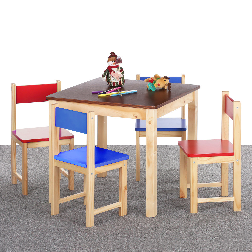 Ikayaa ensemble table et 4 chaises color es en bois pour for Ensemble table chaise bois