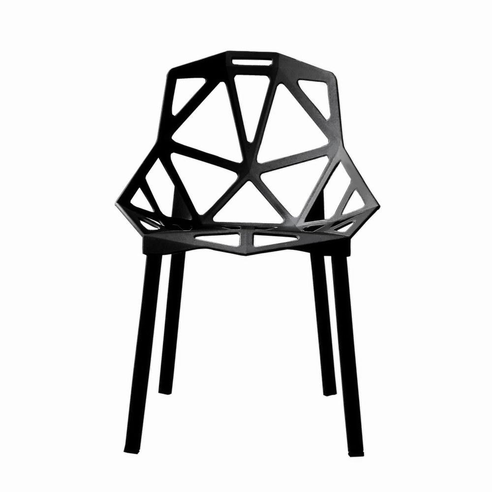 lot de 2 chaises design en acier et plastique noir - Chaise Design Plastique