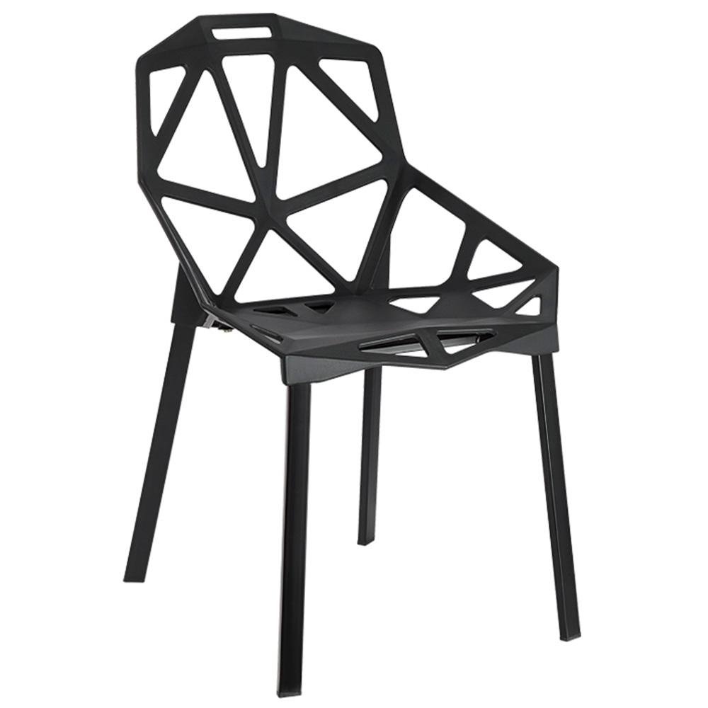 lot de 2 chaises design en plastique blanc. Black Bedroom Furniture Sets. Home Design Ideas