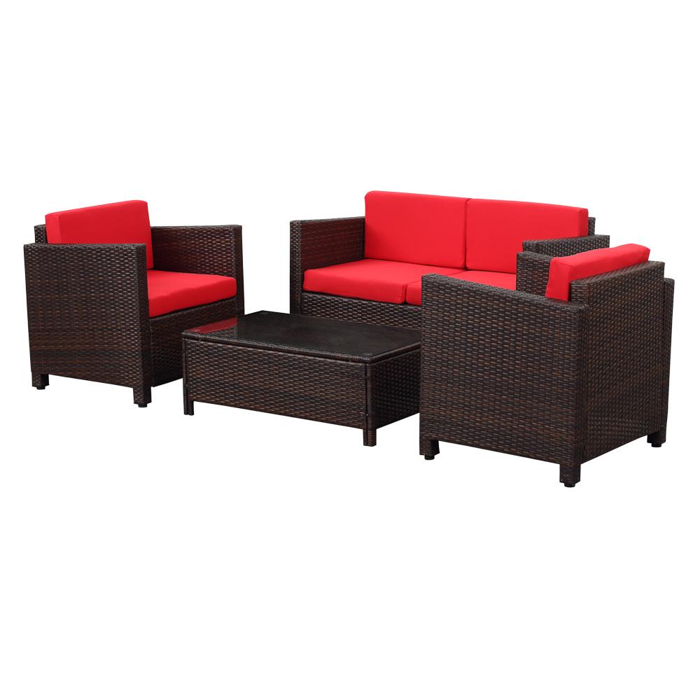 d s marron fonc salon de jardin ikayaa 4 personnes 2 fauteuils canap 2 places. Black Bedroom Furniture Sets. Home Design Ideas