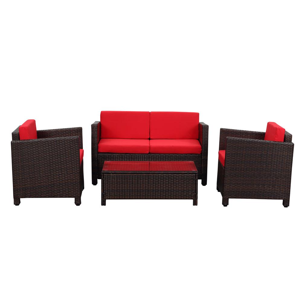 Dès 299.00€, Salon de jardin iKayaa 4 personnes – 2 fauteuils + canapé 2  places Noir et beige / Brun foncé et rouge marron foncé - Interougehome.com