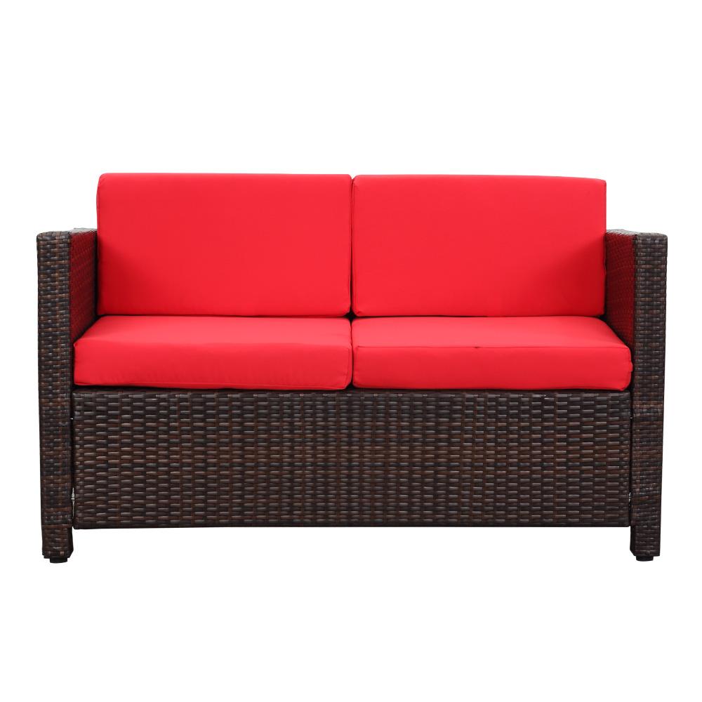 Salon de jardin ikayaa 4 personnes 2 fauteuils canap for Salon de jardin 2 places