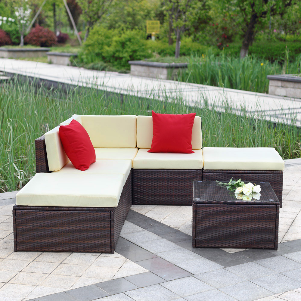 brown iKayaa 6PCS Outdoor Patio Garden Rattan Wicker Sectional Sofa Set  Brown - LovDock.com