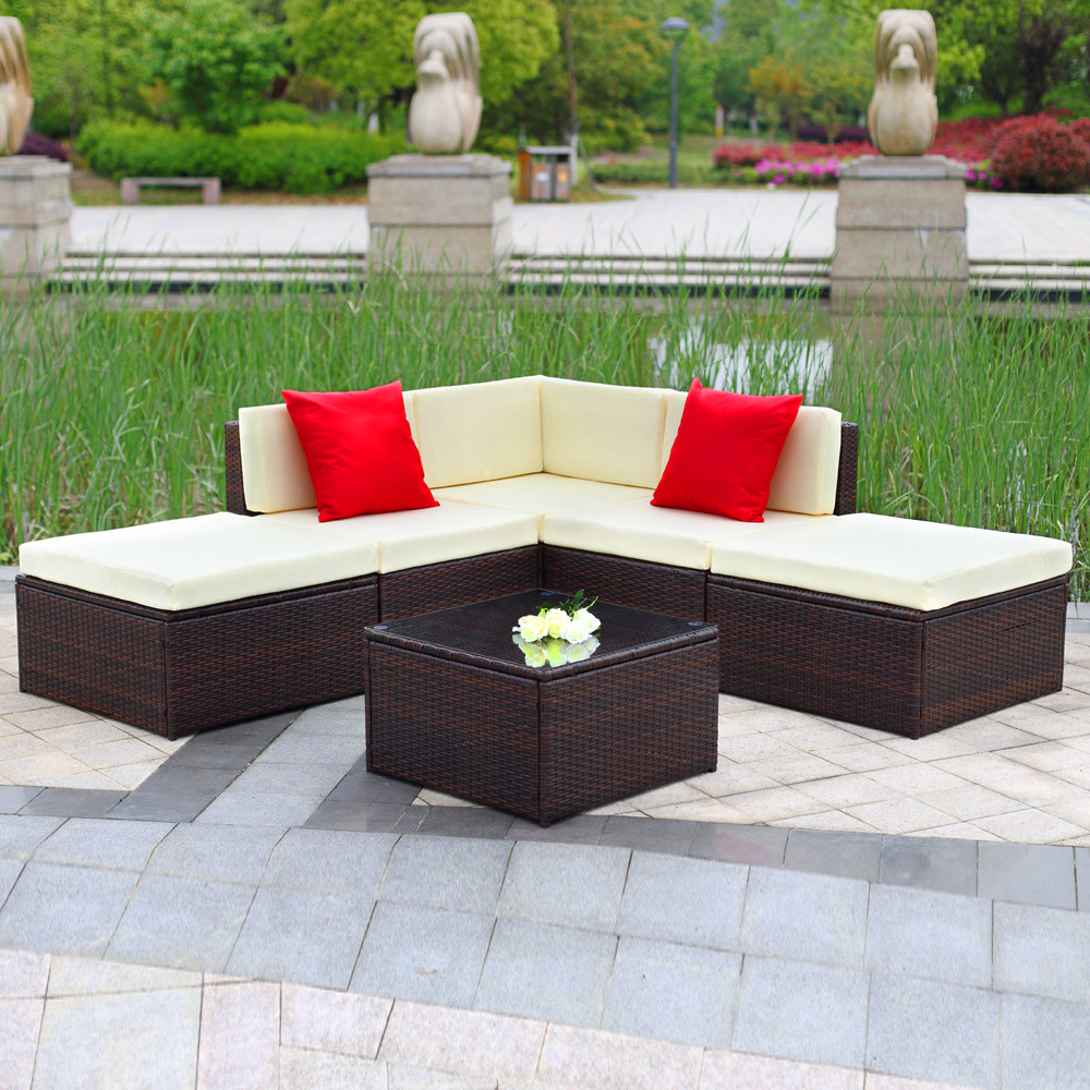 IKayaa 6PCS Outdoor Patio Garden Rattan Wicker Sectional Sofa Set Brown
