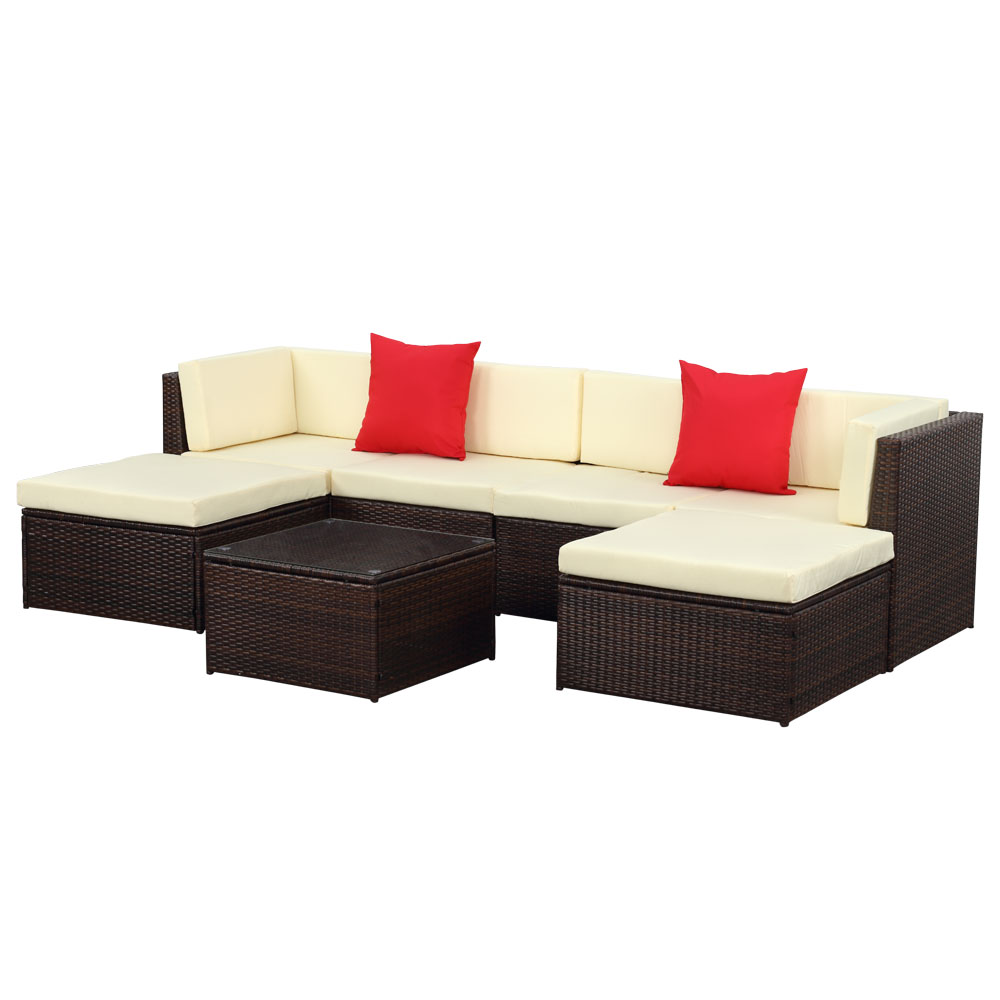 iKayaa 7PCS Outdoor Patio Garden Rattan Wicker Sectional Sofa Set Brown. brown iKayaa 7PCS Outdoor Patio Garden Rattan Wicker Sectional
