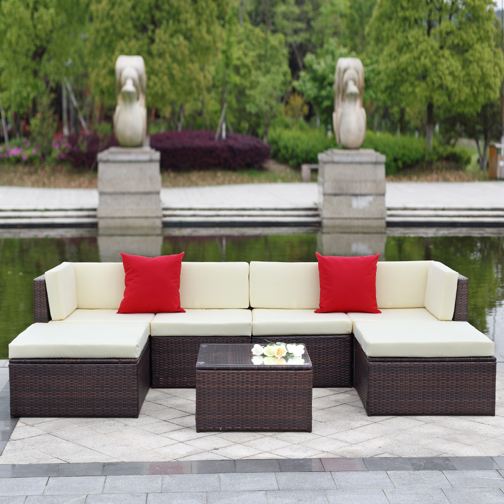 IKayaa 7PCS Outdoor Patio Garden Rattan Wicker Sectional Sofa Set Brown