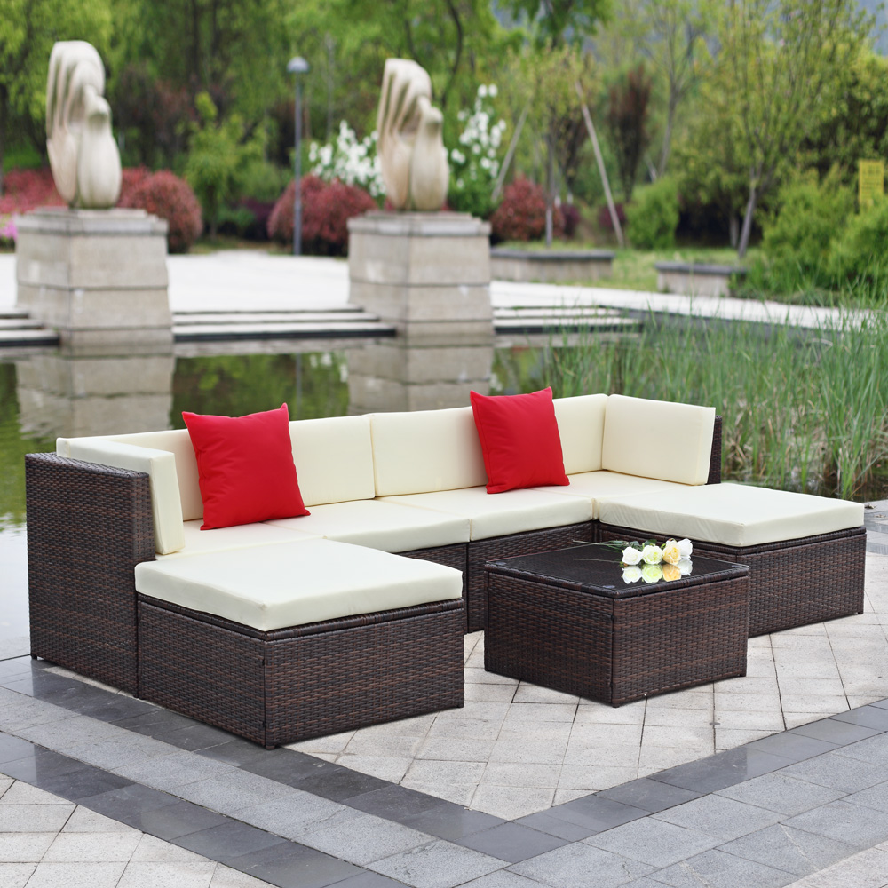 brown iKayaa 7PCS Outdoor Patio Garden Rattan Wicker Sectional Sofa ...