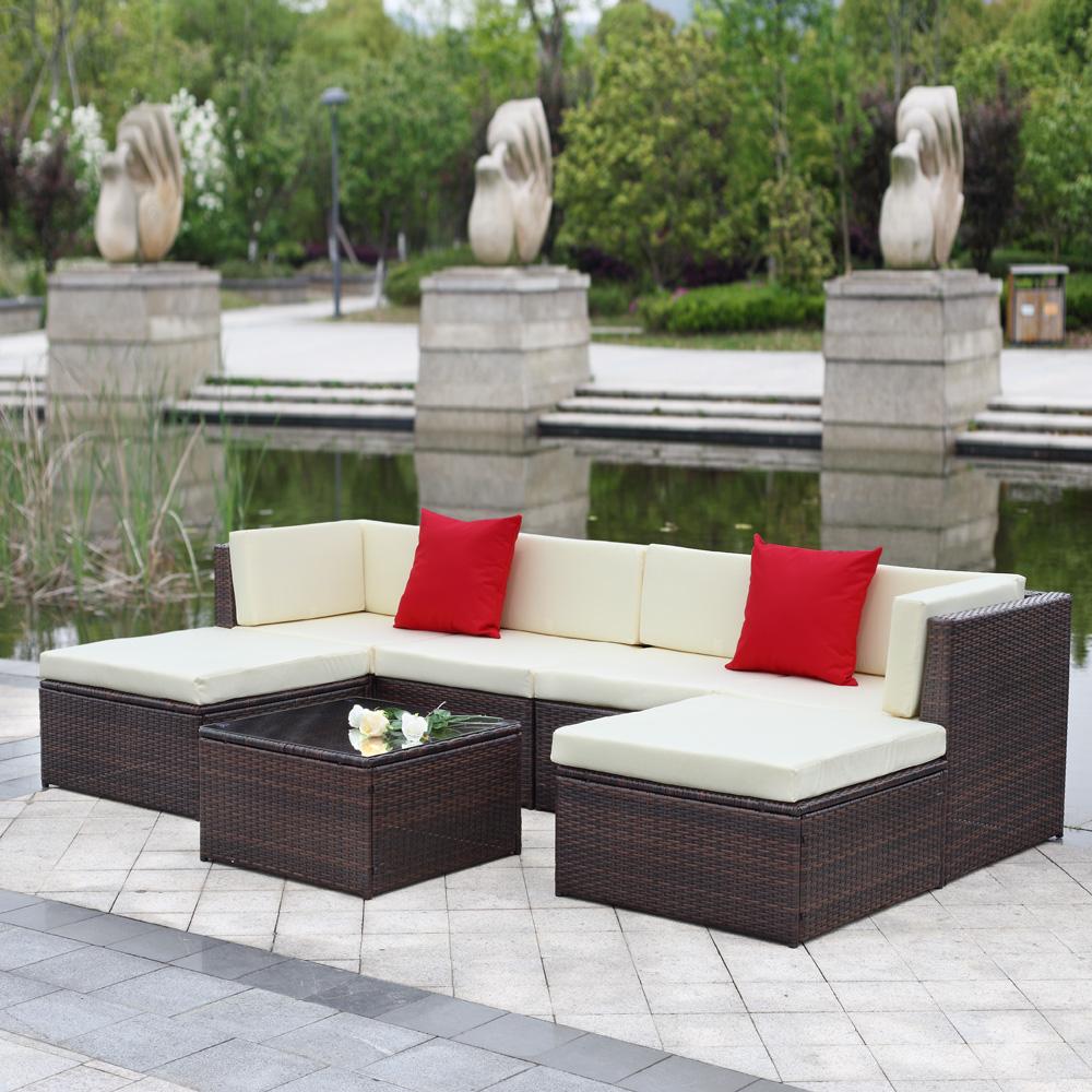 Br Thult Corner Sofa Bed Review: Brown IKayaa 7PCS Outdoor Patio Garden Rattan Wicker