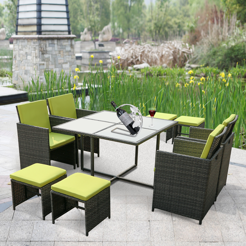Ikayaa 9pcs8 Seater Rattan Patio Garden Outdoor Dining Table