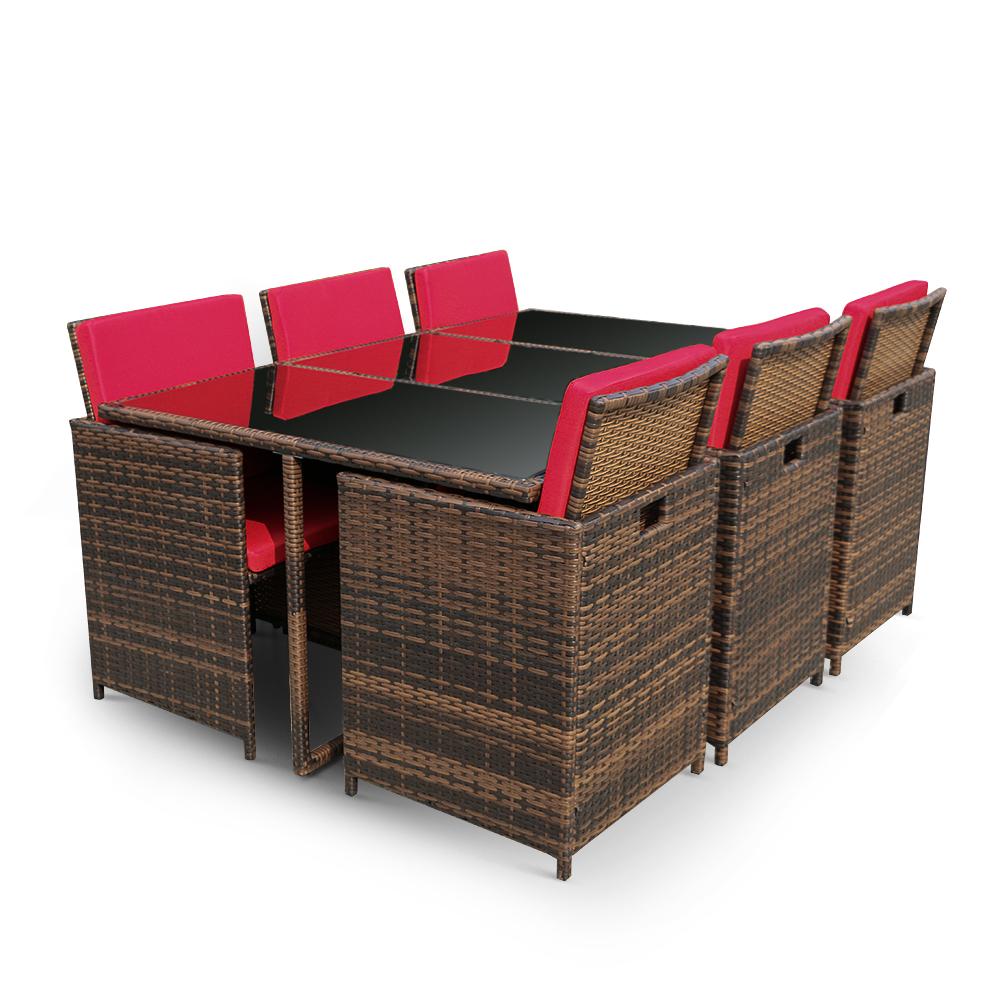 IKayaa 11PCS/10 Seater Rattan Patio Garden Dining Table Chair Set Red