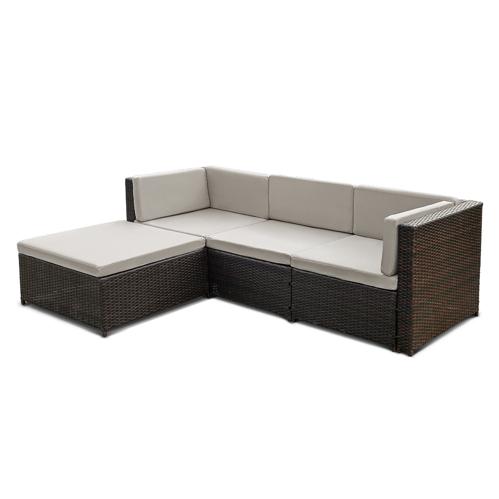 Nur 973.62€, IKayaa 5PCS PE Rattan Wicker Patio Gartenmöbel Sofa Set ...