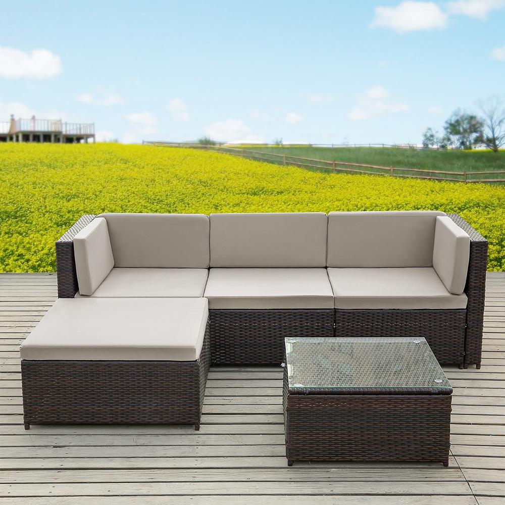 Sólo 1,004.37€, IKayaa 5PCS PE Rattan mimbre patio muebles de jardín ...