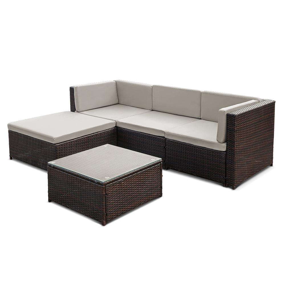 Nur 1,004.37€, IKayaa 5PCS PE Rattan Wicker Patio Gartenmöbel Sofa ...