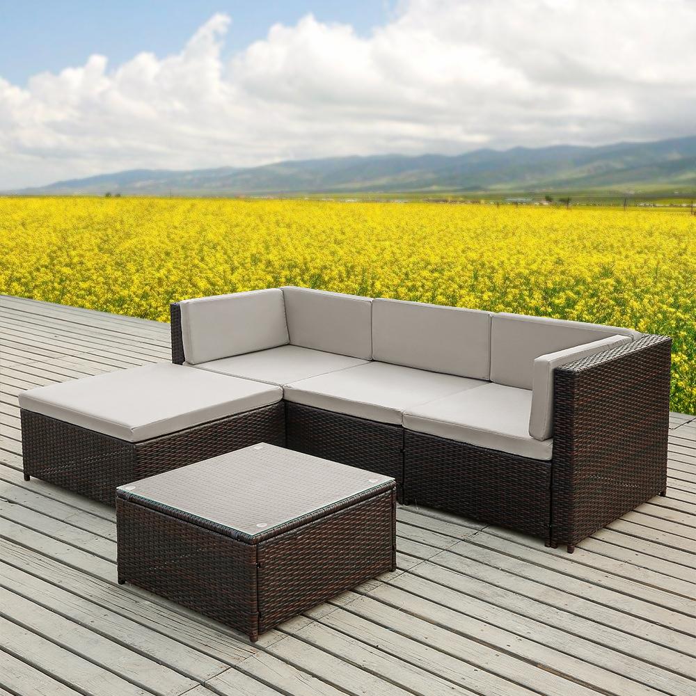 Brown Ikayaa 5pcs Pe Rattan Wicker Patio Garden Furniture Sofa Set  # Muebles Rattan Puerto Rico