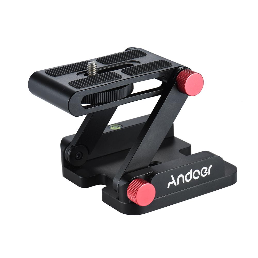 Andoer New Z-shaped Aluminum Alloy Foldable Camera Camcorder Desktop Holder Quick Release Plate Tilt